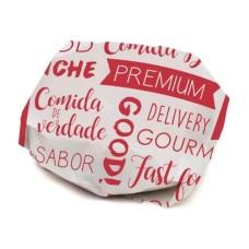 Folha Papel Manteiga para Sanduiche Impressão Vermelha com 100