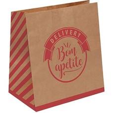 Saco para Delivery Com 50 Kraft Logo Vermelho