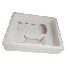 Caixa Mini Confeiteiro 100gr ou 150gr Moldura 28,4X23,2X6,5 BRANCO Tampa PVC Com 10