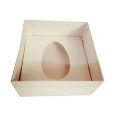 Caixa para Ovo de Colher 250gr 17x17x9 BRANCO Tampa PVC Com 10