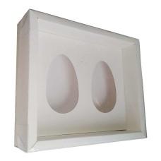 Caixa para Ovo de Colher 2x250gr Moldura 28,4X23,2X6,5 BRANCO Tampa PVC Com 10