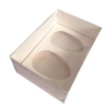 Caixa para Ovo de Colher 2x350gr 24x18,5x9 BRANCO Tampa PVC Com 10