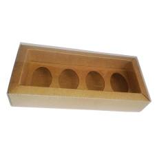Caixa para Ovo de Colher 4x50gr Moldura 23,5x11x4 KRAFT Tampa PVC Com 10