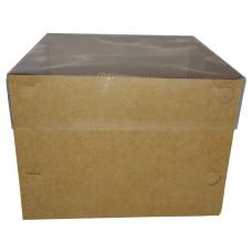 Caixa para Bolo 20x20x15 KRAFT Tampa PVC Com 10