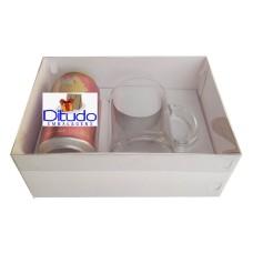 Caixa para Lata e Caneca 22x15,5x9 BRANCO Tampa PVC Com 10