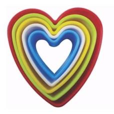 Jogo de Cortadores Coração em Plástico Kehome Com 05