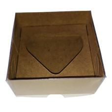 Caixa para Coração de Colher 80gr 8x8x4 KRAFT Tampa PVC Com 10