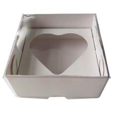 Caixa para Coração de Colher 80gr 8x8x4 BRANCO Tampa PVC Com 10