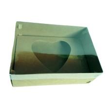 Caixa para CORAÇÃO de Colher 1Kg 30x22x9 KRAFT Tampa PVC Com 10