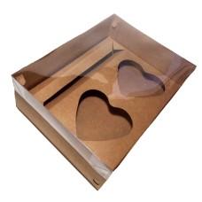 Caixa para CORAÇÃO de Colher 2x200gr e Doces 24x18,5x9 KRAFT Tampa PVC C/10