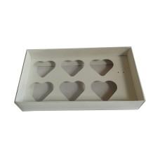 Caixa para Coração de Colher 6x80gr 27x15x5 BRANCO Tampa PVC Com 10