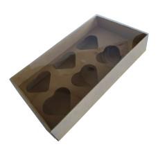 Caixa para Coração de Colher 6x80gr 27x15x5 KRAFT Tampa PVC Com 10
