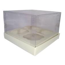 Caixa para 04 Cupcake Alto 17x17x12 BRANCO Corpo PVC Com 10