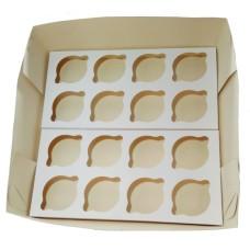 Caixa para Transporte 16 Cupcake Padrão 35x35x10 BRANCO Com 10