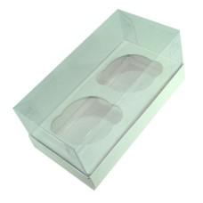 Caixa para 02 Cup Cake Padrão 17x8,5x8 BRANCO Corpo PVC com 10