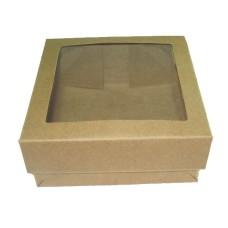 Caixa para Lembrancinha KRAFT Visor PVC 11,5x11,5x4,5 Com 10