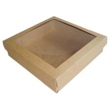 Caixa para Lembrancinhas KRAFT Visor PVC 15,5x15,5x4 Com 10