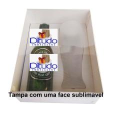 Caixa para Garrafa e Tulipa 24x18,5x9 Tampa Sublimável Com 10