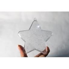 Estrela de Acrílico com Glitter - 5 Unidades