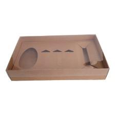 Caixa Mini Confeiteiro Ovo 100/150gr 27x15x5 KRAFT Tampa PVC Com 10