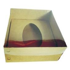 Caixa para Ovo de Colher 250gr 17x17x9 KRAFT Tampa PVC Com 10