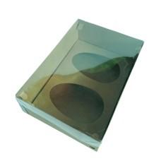Caixa para Ovo de Colher 2x350gr 24x18,5x9 KRAFT Tampa PVC Com 10