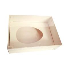 Caixa para Ovo de Colher 750gr 24x18,5x9 BRANCO Tampa PVC Com 10