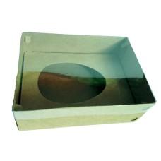 Caixa para Ovo de Colher 750gr 24x18,5x9 KRAFT Tampa PVC Com 10