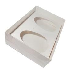 Caixa para Ovo de Colher 2x500gr 30x22x9 BRANCO Tampa PVC Com 10