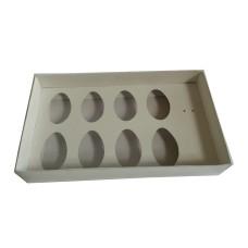Caixa para Ovo de Colher 8x50gr 27x15x5 BRANCO Tampa PVC Com 10