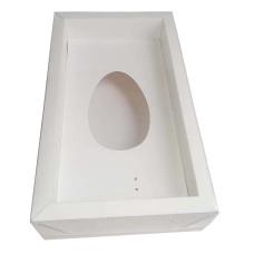 Caixa para Ovo de Colher 250gr Moldura 28,8x16,8x6,5 BRANCO Tampa PVC Com 10