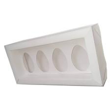 Caixa para Ovo de Colher 4x50gr Moldura 23,5x11x4 BRANCO Tampa PVC Com 10