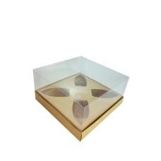 Caixa para Barca de Chocolate BWB P 17x17x9 KRAFT Corpo PVC Com 10