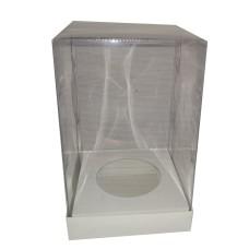 Caixa para Ovo de Páscoa 500/750gr BRANCO Corpo PVC 12x12x22 Com 10