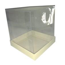 Caixa Panetone  400gr BRANCO Corpo PVC 13,5x13,5x15 Com 10