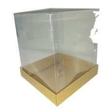Caixa Panetone  400gr KRAFT Corpo PVC 13,5x13,5x15 Com 10