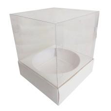 Caixa para Panetone 500gr BRANCO Com Berço Corpo PVC 15x15x18 Com 10
