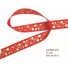 Fita de Cetim Corações Vermelha 2,2cmx10mt ECF005H 615