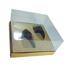Caixa para Barca de Chocolate BWB M 17x17x9 KRAFT Corpo PVC Com 10