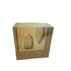 Caixa para Barca de Chocolate BWB M 17x17x9 KRAFT Tampa PVC Com 10